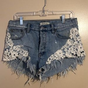 Free People Distressed Short Shorts With Lace